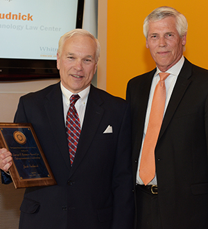 Jack Rudnick, left, with Terry Brown, executive director of the Falcone Center for Entrepreneurship