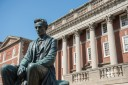 Lincoln Statue Moved From Pedistel to Lawn Outside Maxwell Exterior Summer