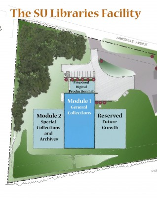 An artist's rendering of the location of the library facility