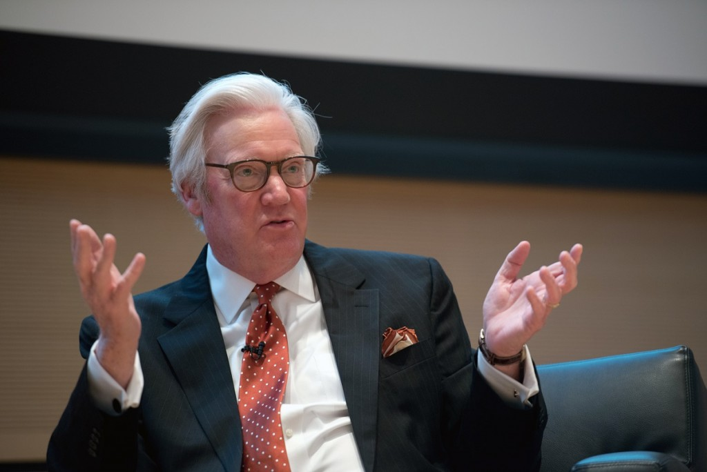 "Recently retired broadcast journalist Bob Dotson spoke to students and faculty in the Joyce Hergenhan Auditorium of the S.I. Newhouse School of Public Communications, Dec. 1, 2015. Dotson spent 40 years with NBC News with majority as a host of ""American Story"" series on the ""Today"" show. Photograph by James K. McCann"