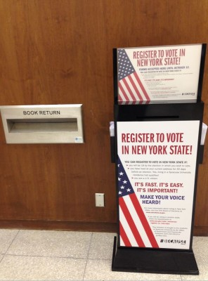 Students interested in registering to vote can do so by looking for displays like these at Bird LIbrary, along with Schine and Goldstein Student Centers.