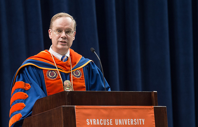 On Thursday night, Chancellor Kent Syverud, on behalf of Syracuse University, welcomed more than 4,000 first-year and transfer students at the New Student Convocation in the Dome.
