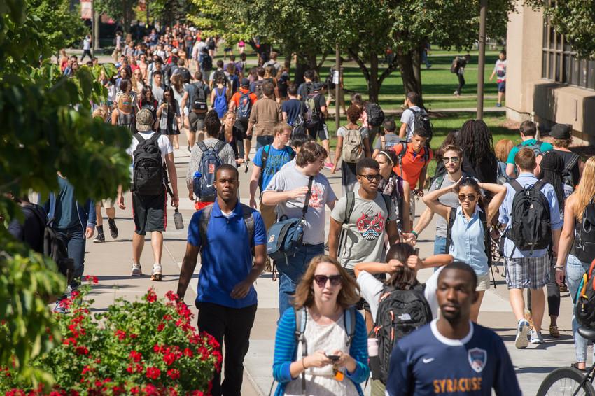 Summer Campus Scenes Students Walking Quad