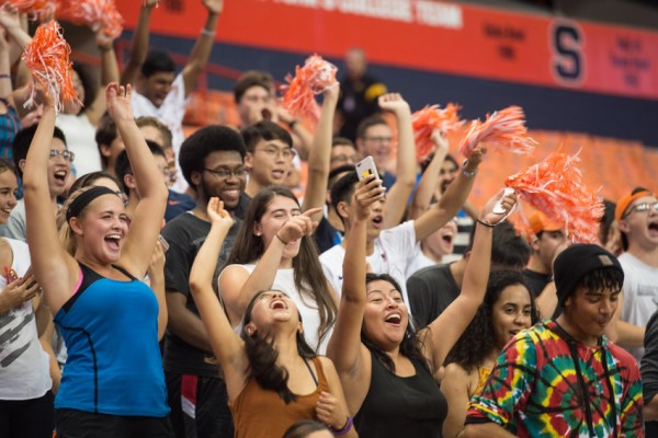 Students cheering in stands