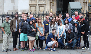 Students on the 2016 EuroTech trip outside London's Westminster Abbey