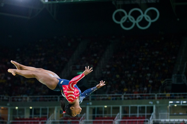 gymnast performing routine
