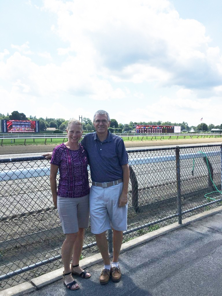 Jim Hopkins, staff member in Falk College, and his wife Cathy spent time watching the horse races at the Saratoga Raceway and later visiting the town.