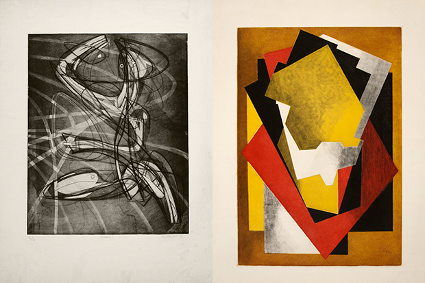 "The ""About Prints"" exhibition features ""Sorcerer (Wizard)"" 1953 by Stanley William Hayter, left, and ""Composition,"" 1928, by Jacques Villon."
