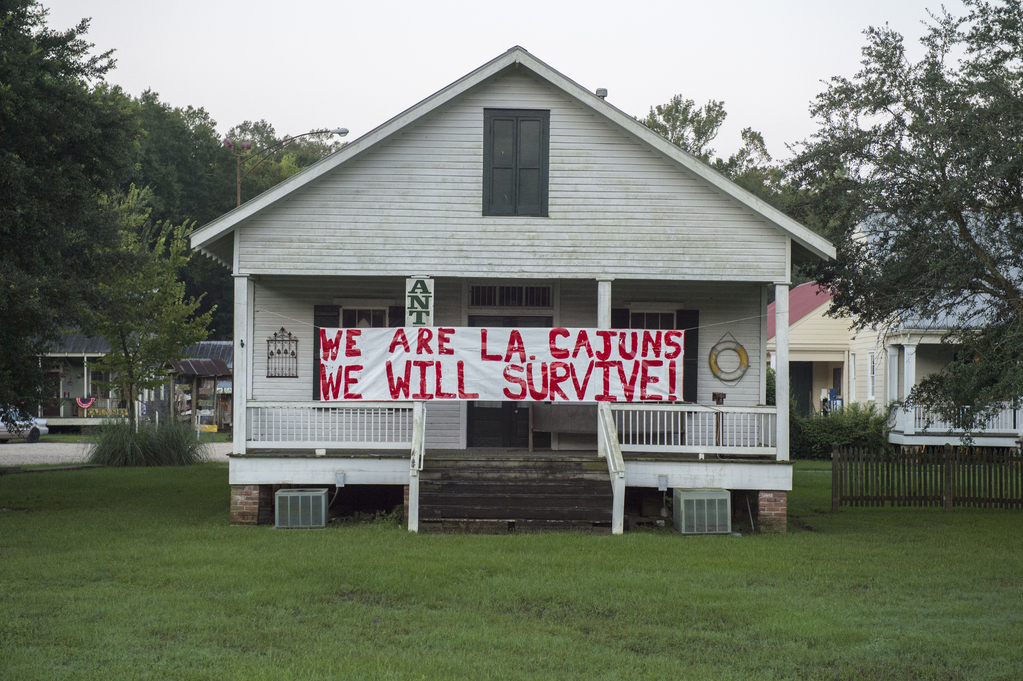 Proud Louisiana business owner displays sign of strength and pride in the wake of the flood dissaster in Gonzales, La. (Photo by J.T. Blatty/FEMA