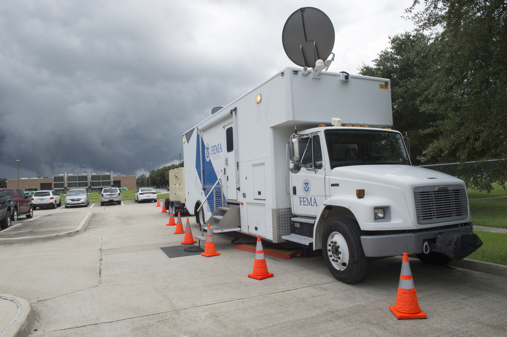 FEMA truck outside of the Emergency Operations Center in Baton Rouge, La on Saturday, August 20, 2016. (Photo by J.T. Blatty/FEMA)