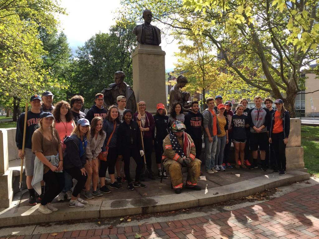 Students around monument