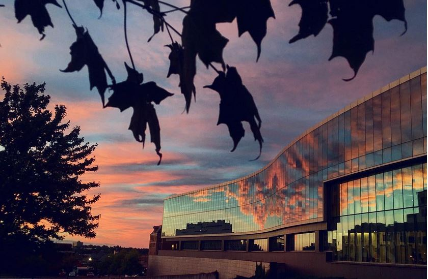 sunset over building