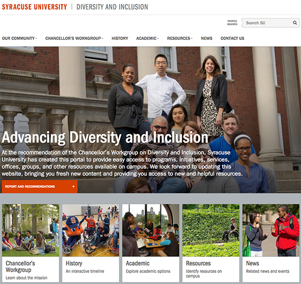 Diversity and Inclusion website home page featuring banner image of students with five news story blocks across the bottom.