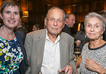 Lubin Executive Director for Advancement Stephanie Cook, Len Elman '52 and Jan Raymond '65 (© EricWeissPhoto 2016)