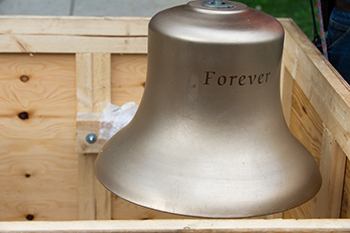 "The ""Forever"" bell donated by Joan Kibbe as part of the Crouse Chimes Project."