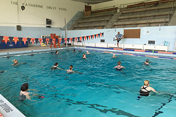 Water exercise is one of the health and wellness classes in which faculty and staff can participate.