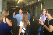 Sherman and Syracuse Architecture students visit a warehouse at the Port of Los Angeles.