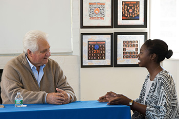 Program founder Martin Bandier '62 advises Felicia Bennett '16 during his visit to campus last spring.