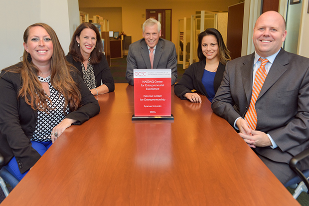 Among those responsible for the Falcone Center's award are, from left: Lindsay Wickham, events and communications manager; Susan Oot, administrative specialist; Terry Brown, executive director of the Falcone Center for Entrepreneurship; Gabriela Mejia, entrepreneur-in-residence; and Alex McKelvie, chair, department of entrepreneurship & emerging enterprises and associate professor of entrepreneurship.