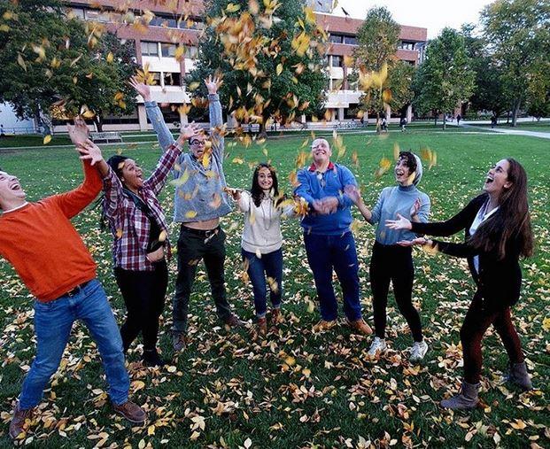 people throwing leaves