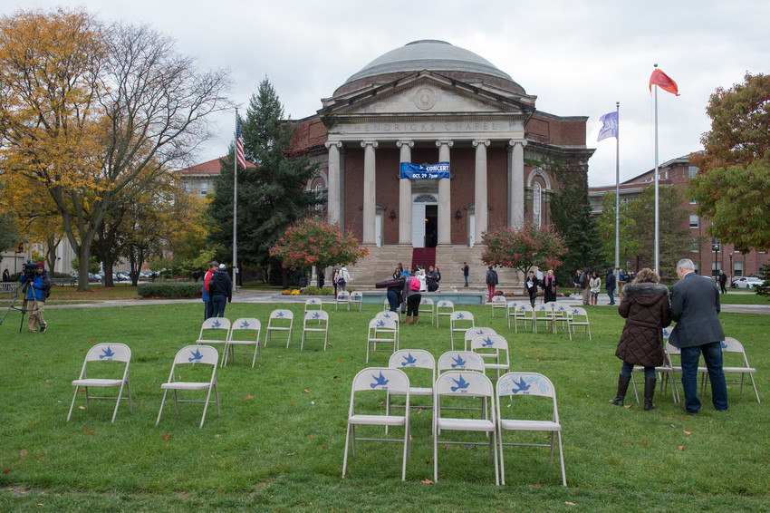 white chairs in Quad