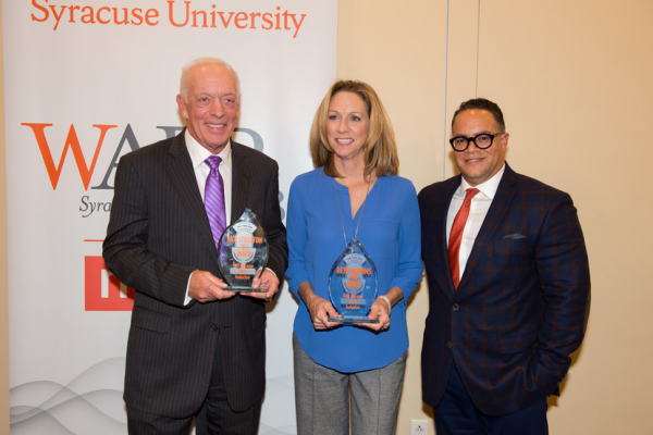 Dick Stockton '60 and Beth Mowins '94 along with WAER GM Joe Lee.