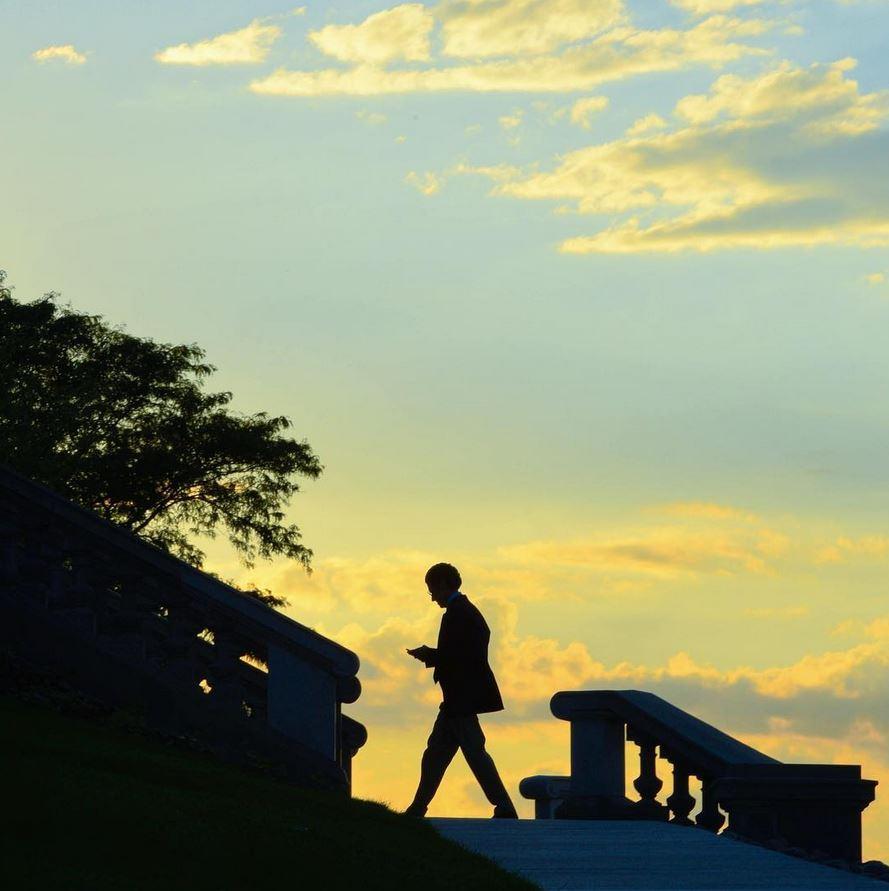sunset over the promenade