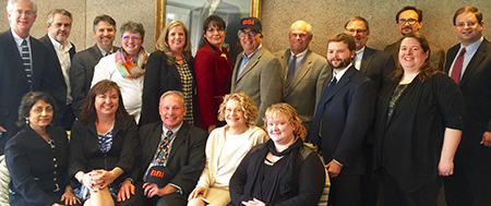 The BBI Board of Advisors: Standing- left to right: Michael Morris, Ed Blatt, Jonathan Martinis, Cynthia Smith, Diana Foote, Peter Blanck, Jonathan Heintz, Howard Olinsky, Brian Sexton, William Myhill, Michelle Woodhouse, James Nicoll Sitting - Kalpana Srinivas, Barbara Huntress Tresness, Joseph Treglia, Mary Killeen, Angel Baker