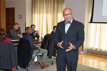 Instructor Emad Rahim addresses attendees at a previous bootcamp.