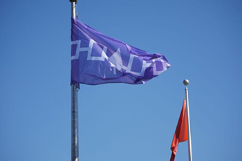 The Haudenosaunee flag flies outside Hendricks Chapel