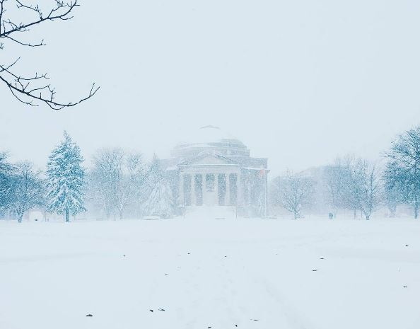 snowing on quad
