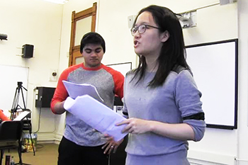 "Ian Joseph '19 and Michelle Wu '19 rehearsing their lines from the Nautanki-style play ""Mission Suhani."""