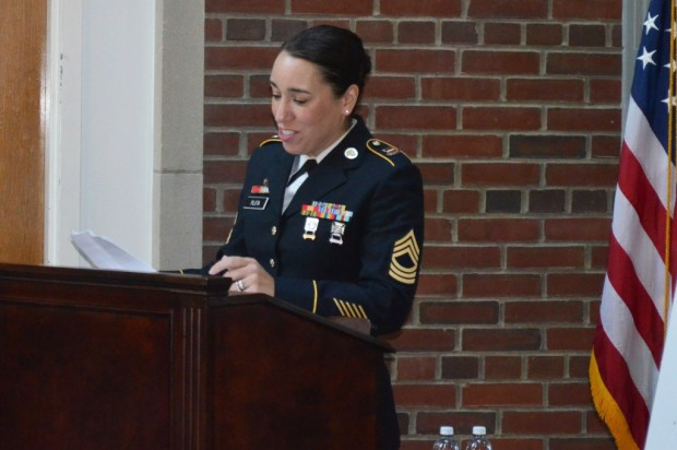 Jennifer Pluta, assistant director of veteran career services in Career Services and the Office of Veteran and Military Affairs, spoke this week at the Employer Support for the Guard and Reserve signing ceremony with Chancellor Kent Syverud to highlight her appreciation for the University's support of her time away with her military commitments.