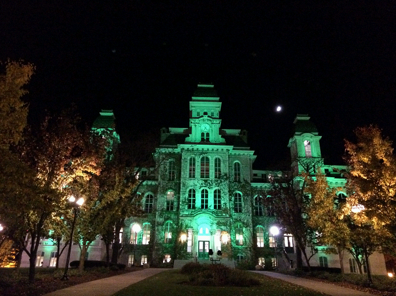 As part of the Greenlight a Vet campaign, the Hall of Languages and Hendricks Chapel are lit up in green at night this week.