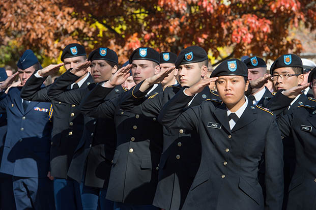 ROTC cadets salute during a previous Veterans Day ceremony.