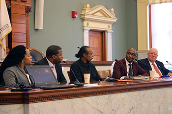 """The Lived Experience: The Front Lines of Gun Violence and Community Trauma in Syracuse"" was one of several panels that took place during the recent 18th Annual James L. Stone Legislative Policy Symposium. Panelists included (L-R): Lepa Jones, president, Mothers Against Gun Violence; Randy White, project director, Syracuse Cure Violence; Clifford Ryan, founder, OGs Against Gun Violence; Rev. David Bulluck, founder, Change Agent Consortium, and; Alejandro Garcia, professor of social work."