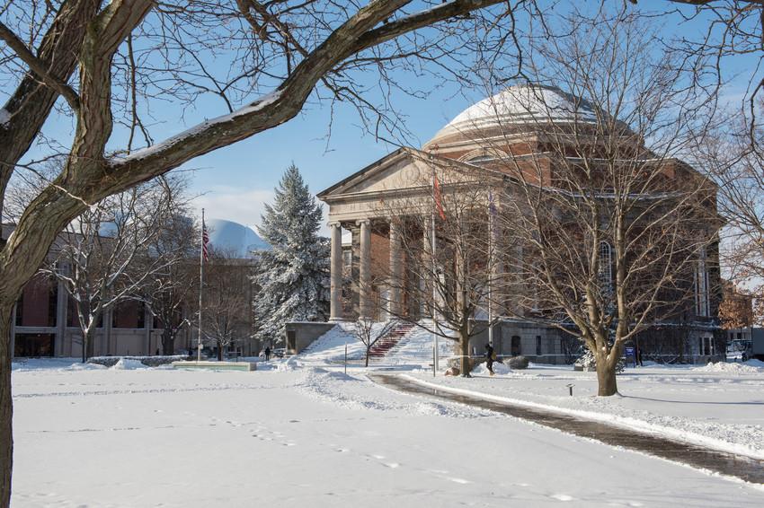 Winter Campus Scenes Hendricks Chapel Exterior
