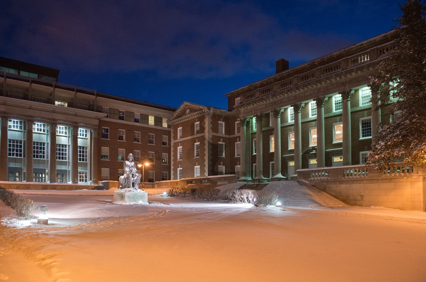 Eggers and Maxwell halls at night with snow