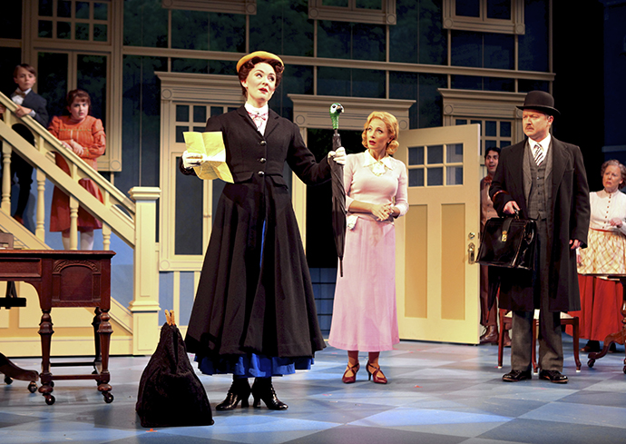 Nanny Mary Poppins arrives in the Banks household in the musical currently running at Syracuse Stage (Photo by Michael Davis).