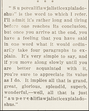 "A section of Helen Herman's Daily Orange article from March 10, 1931, in which she mentions the word ""asdfasdfsadf"