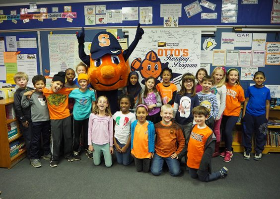 Otto and students at Ed Smith School