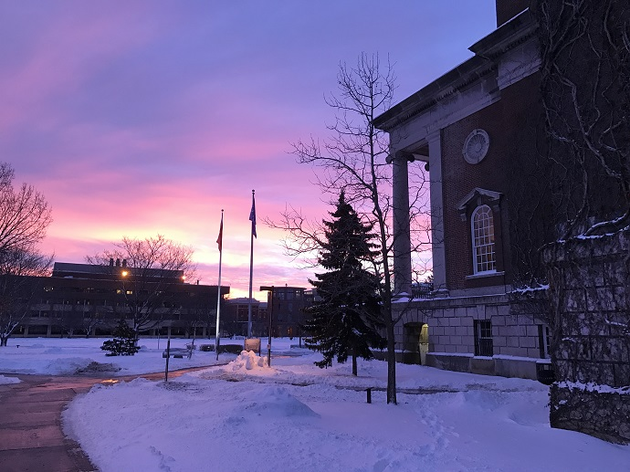 sunrise over campus