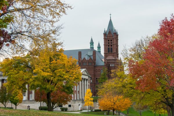 Fall Campus Scenes Crouse College Maxwell Hall Exterior