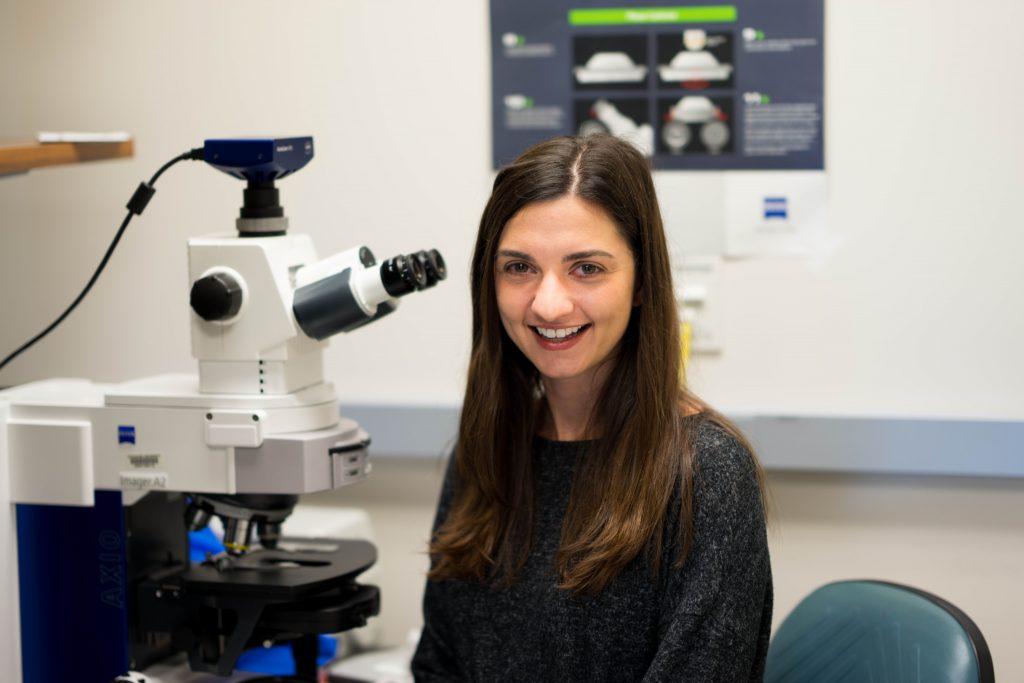 woman at microscope