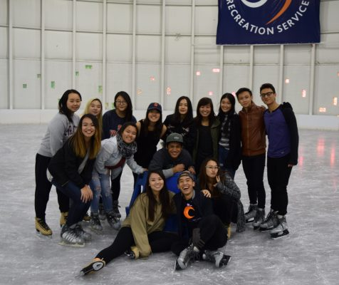 students on skating rink