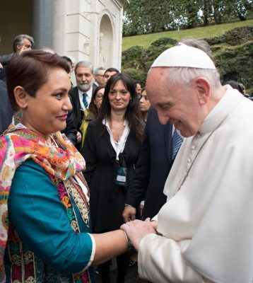 Farhana Sultana with Pope Francis.