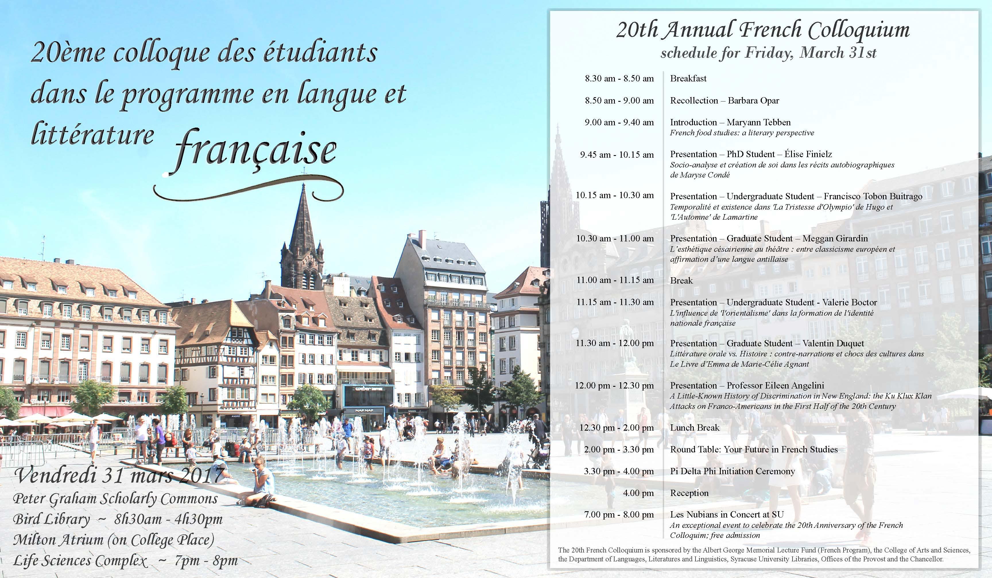 Colloquium schedule