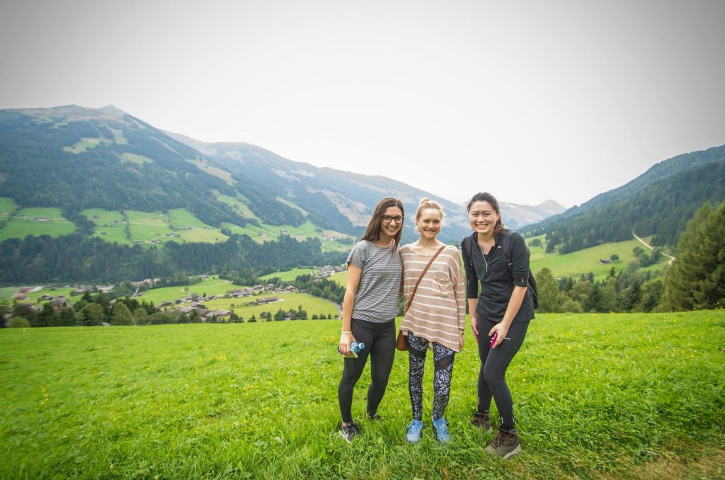 three women in the Alps