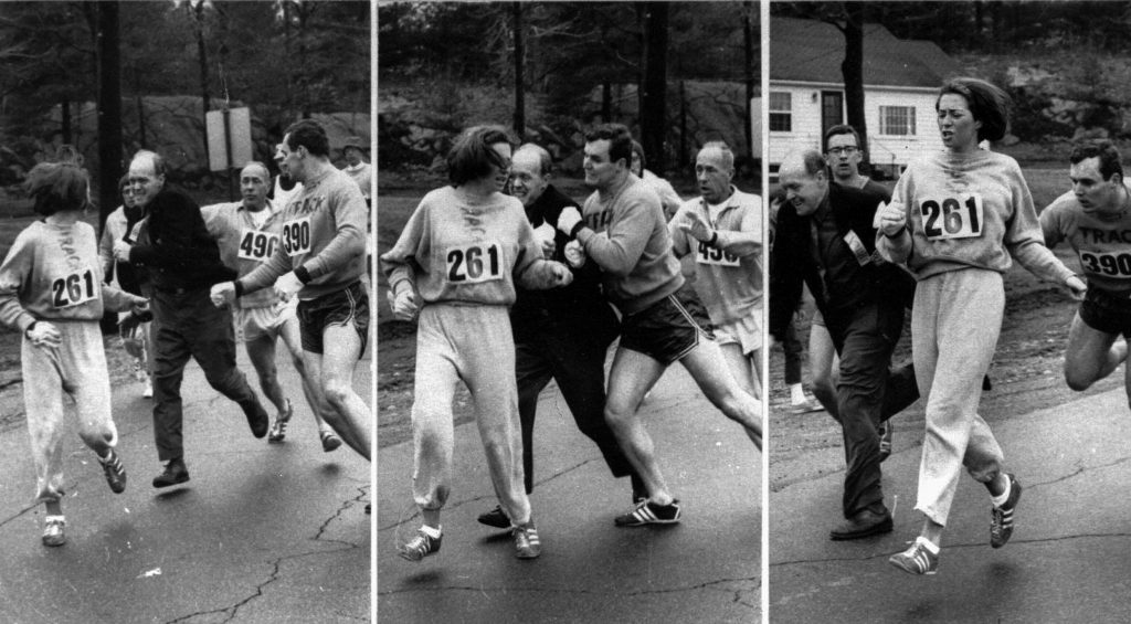 three photos show a man trying to grab a woman running a race, second photo shows man being shoved, third photo shows woman continue to run