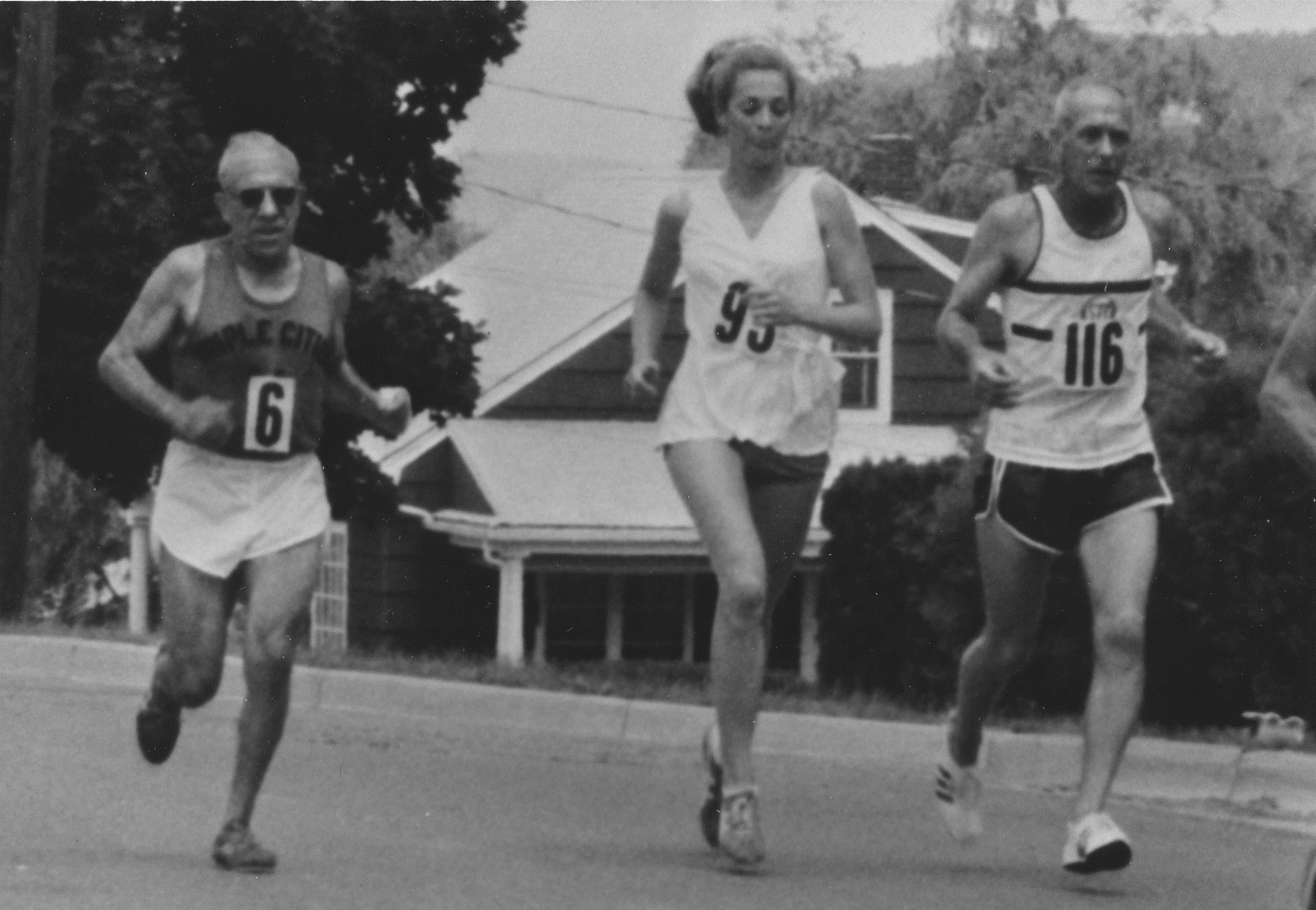 three people running